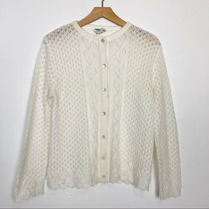 Vintage crochet knit cardigan cream white pretty